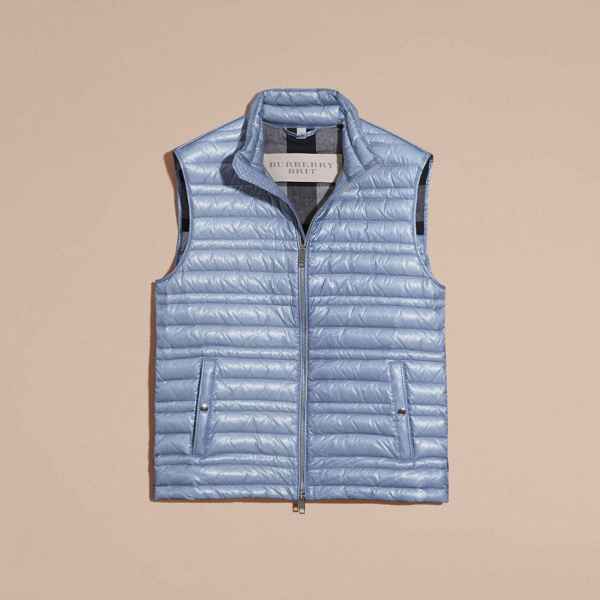 Pale blue Lightweight Down-filled Gilet Pale Blue - gallery image 4