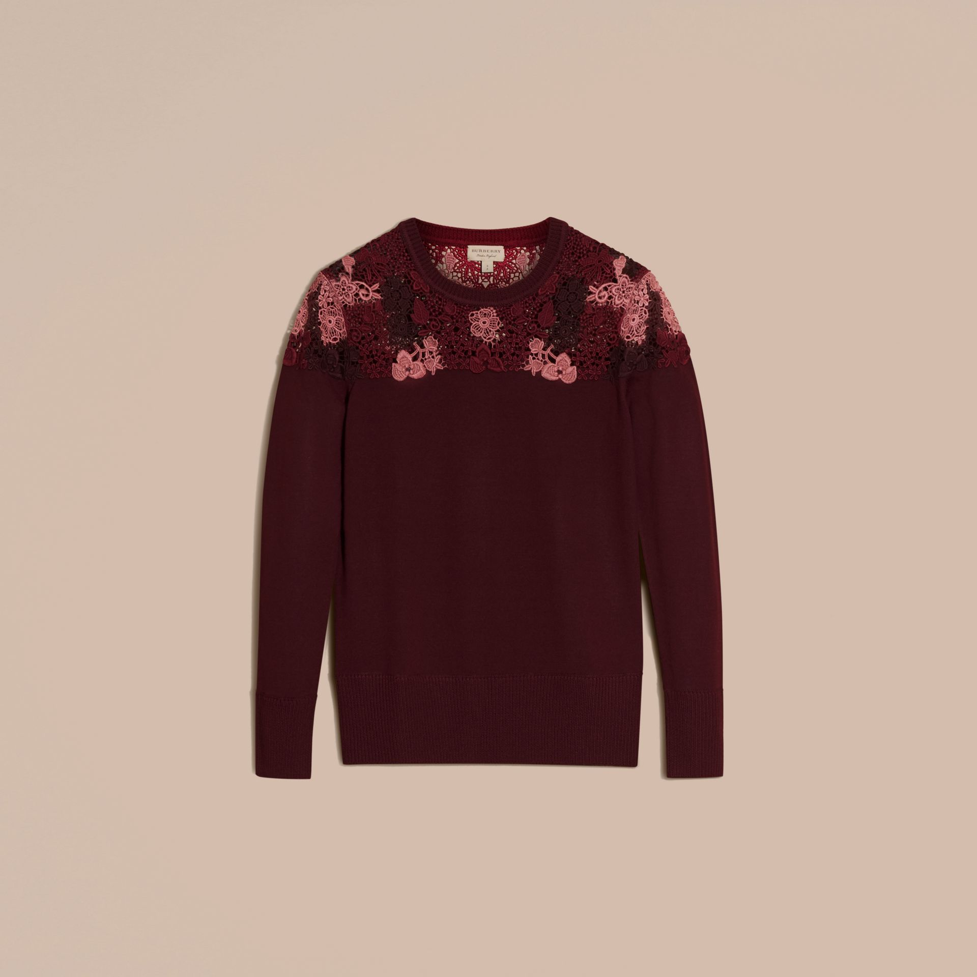 Deep claret Lace Yoke Merino Wool Sweater Deep Claret - gallery image 4