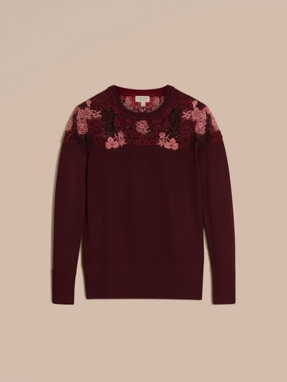 Deep claret Lace Yoke Merino Wool Sweater Deep Claret - cell image 3