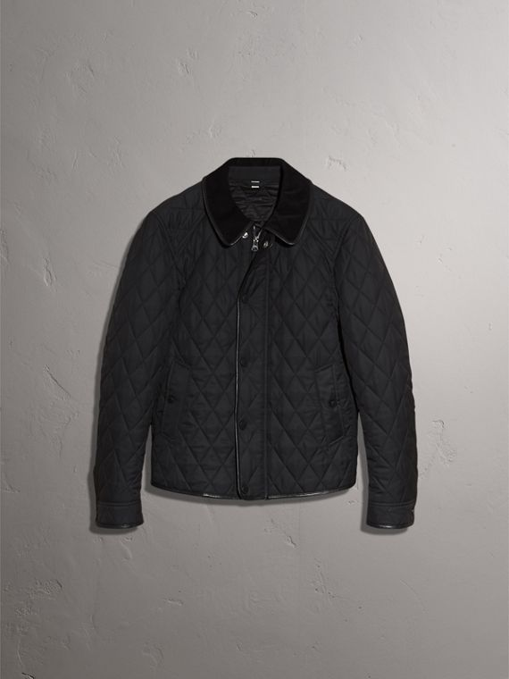 Leather Piping Corduroy Collar Quilted Jacket - Men | Burberry - cell image 3