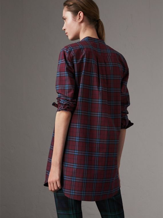 Ruffle Detail Check Cotton Tunic Shirt in Crimson Red - Women | Burberry United Kingdom - cell image 2