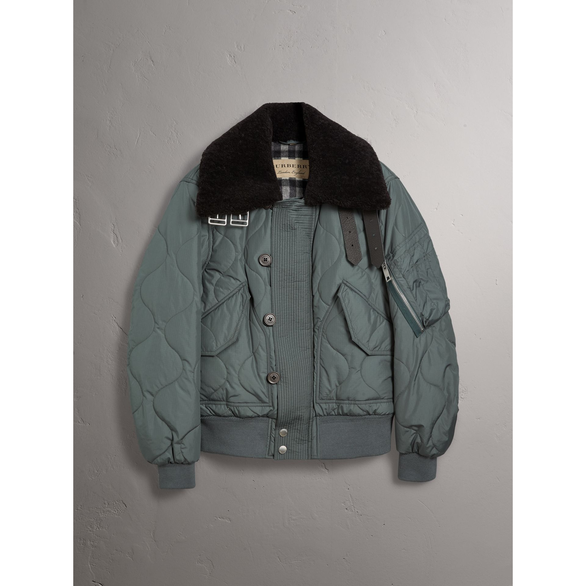 Shearling Collar Quilted Bomber Jacket in Smokey Green - Men | Burberry United Kingdom - gallery image 4
