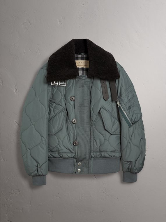 Shearling Collar Quilted Bomber Jacket in Smokey Green - Men | Burberry - cell image 3