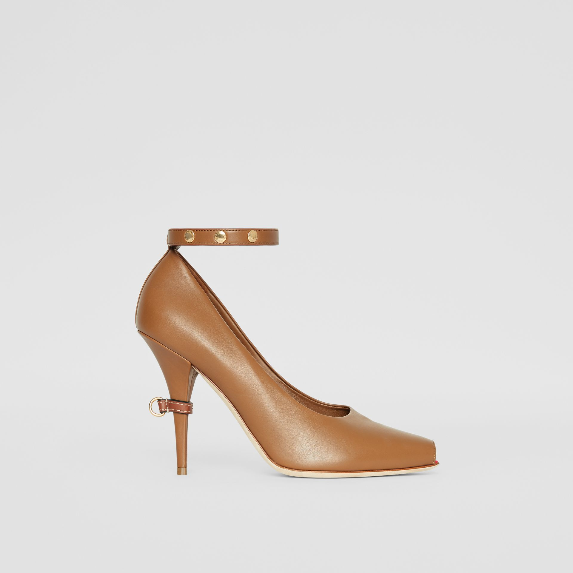 D-ring Detail Leather Peep-toe Pumps in Amber Brown - Women | Burberry - gallery image 5