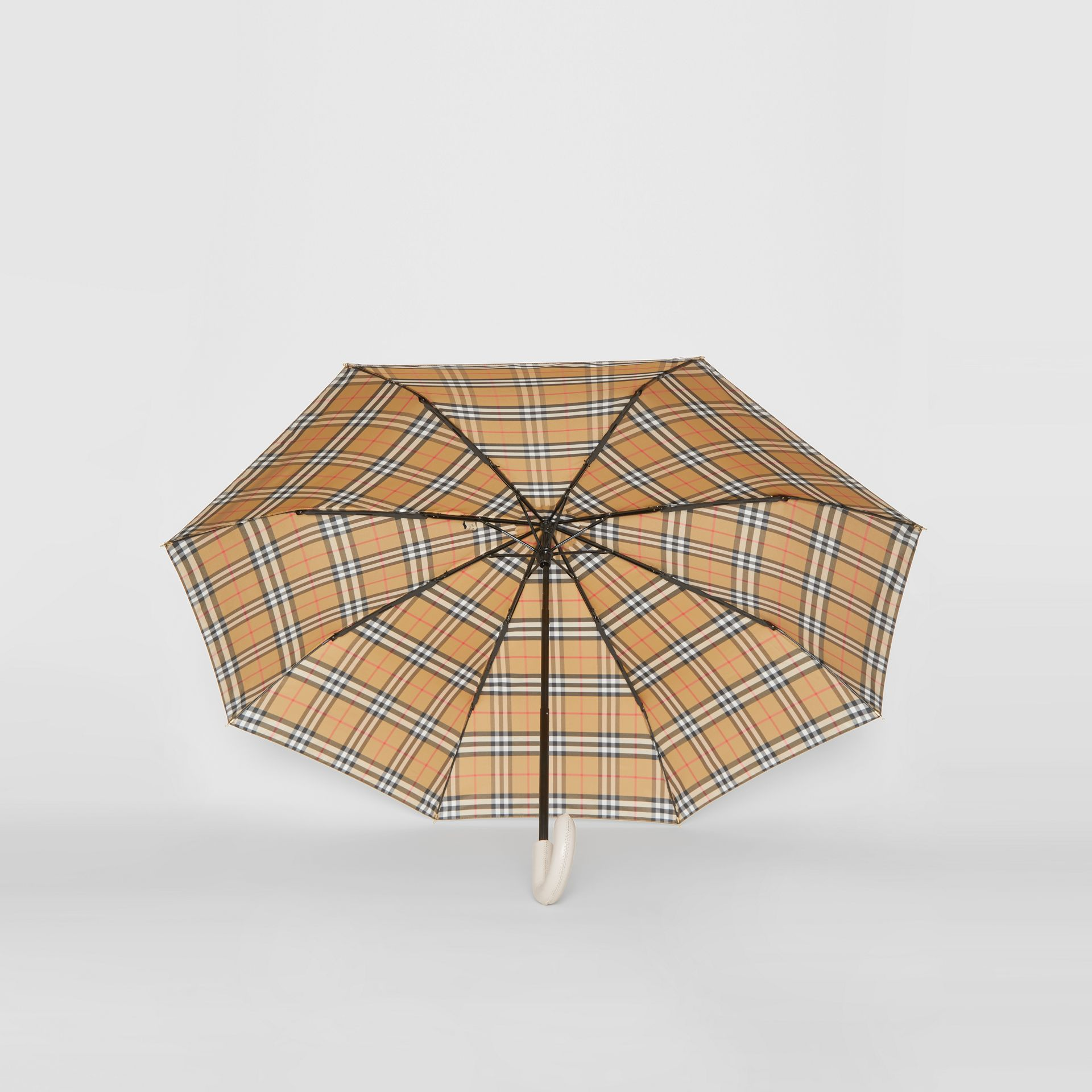 Vintage Check Folding Umbrella in Antique Yellow/limestone | Burberry Hong Kong - gallery image 4