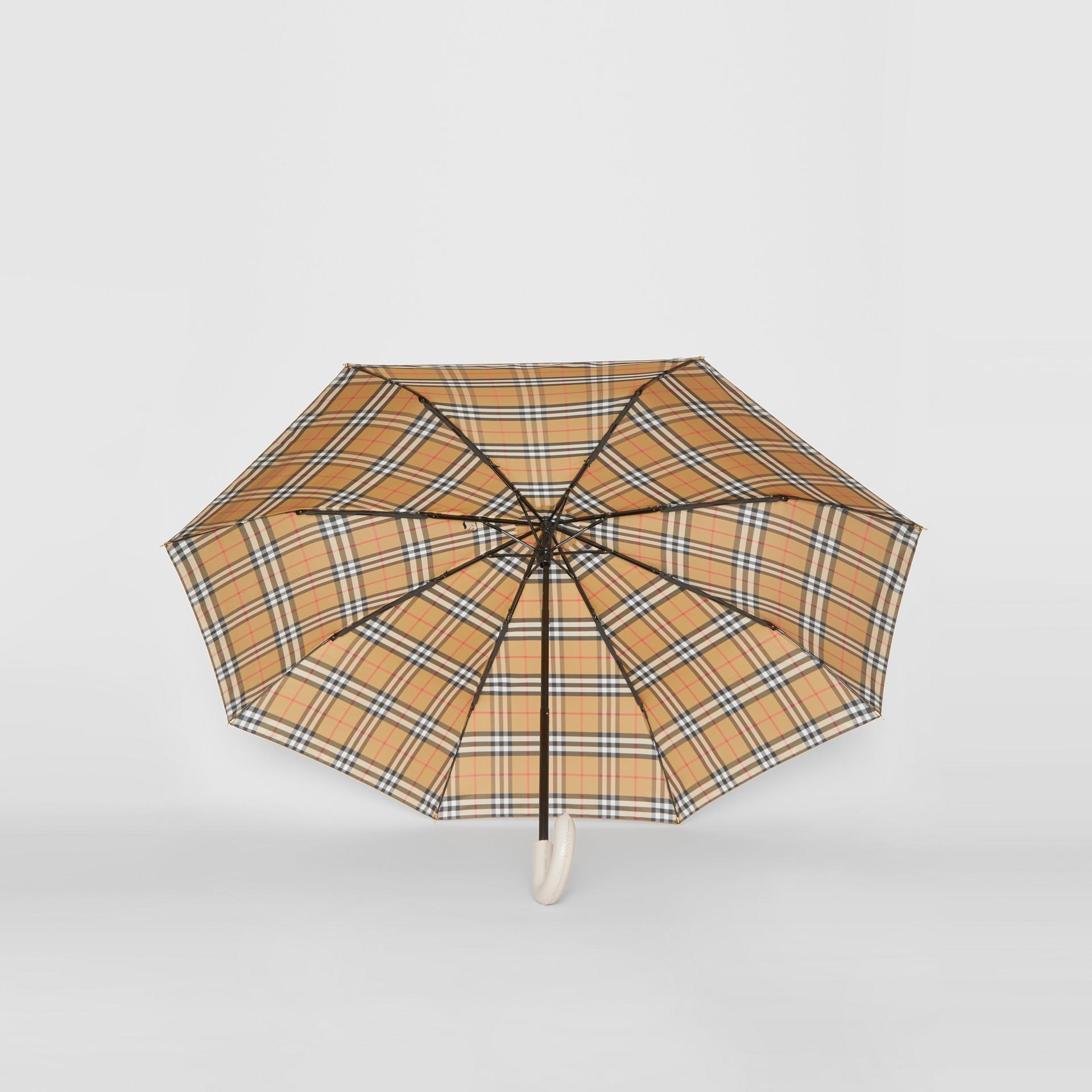 Vintage Check Folding Umbrella in Antique Yellow/limestone | Burberry United Kingdom - gallery image 4