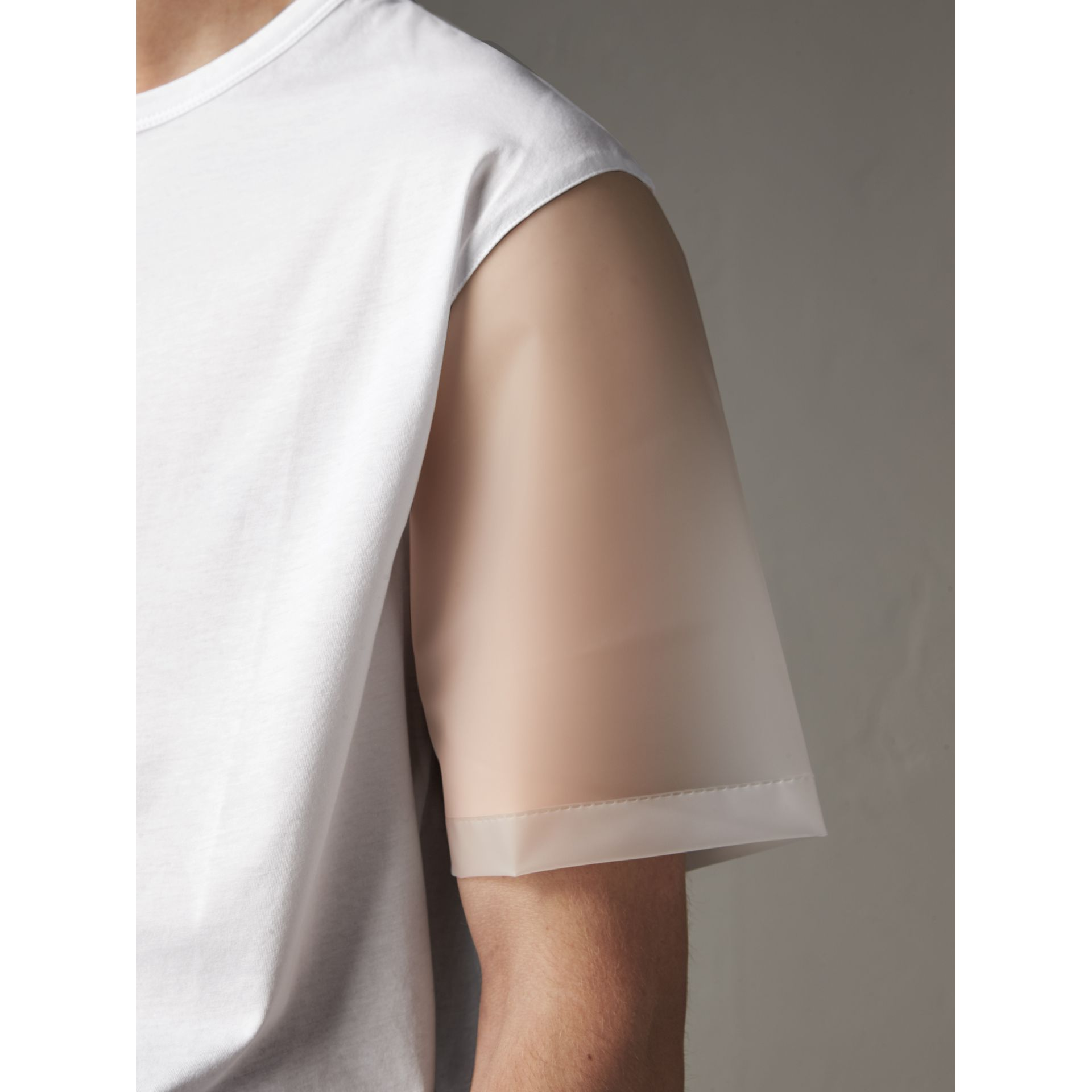 Cotton and Soft-touch Plastic T-shirt in White - Men | Burberry United States - gallery image 1