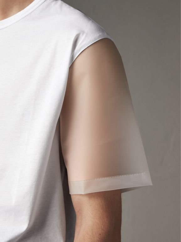 Cotton and Soft-touch Plastic T-shirt in White - Men | Burberry - cell image 1