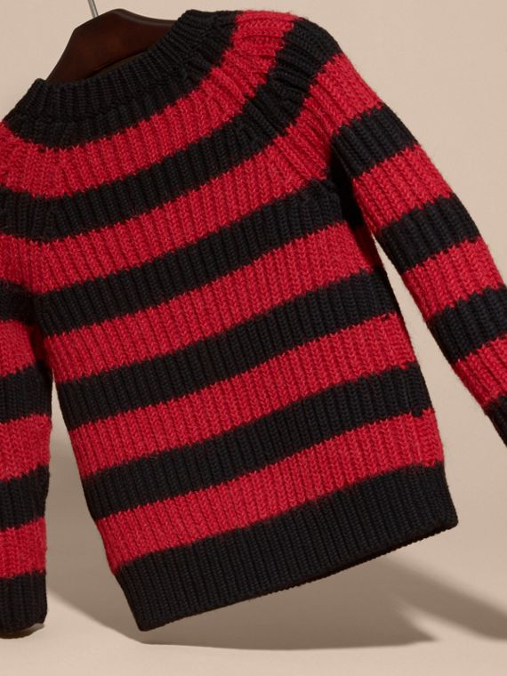 Parade red Striped Merino and Alpaca Wool Sweater - cell image 3