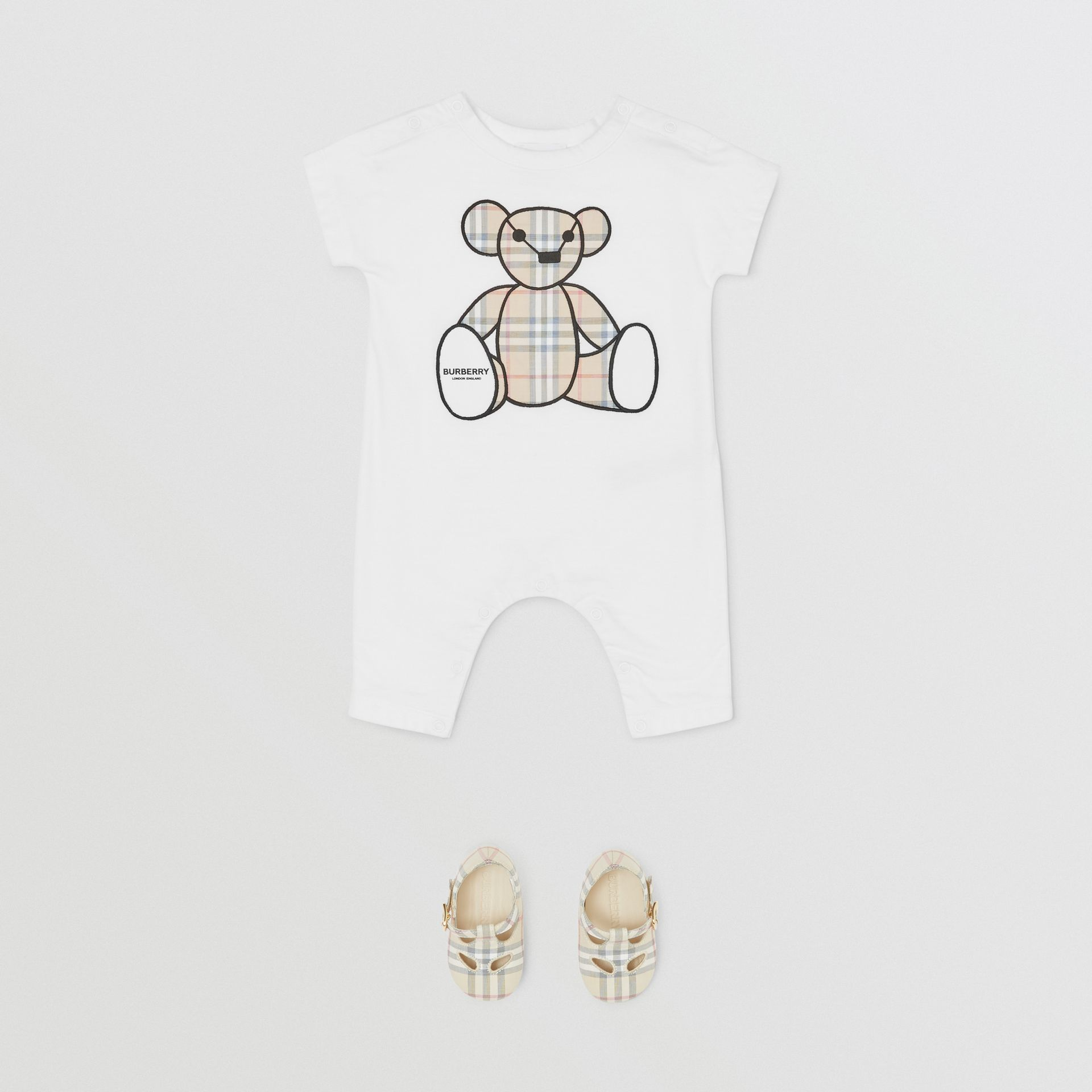 Thomas Bear Appliqué Cotton Jumpsuit in White - Children | Burberry United States - gallery image 2