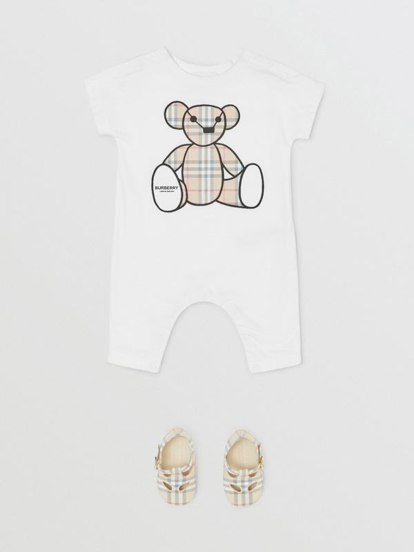 Thomas Bear Appliqué Cotton Jumpsuit in White - Children | Burberry United States - cell image 2