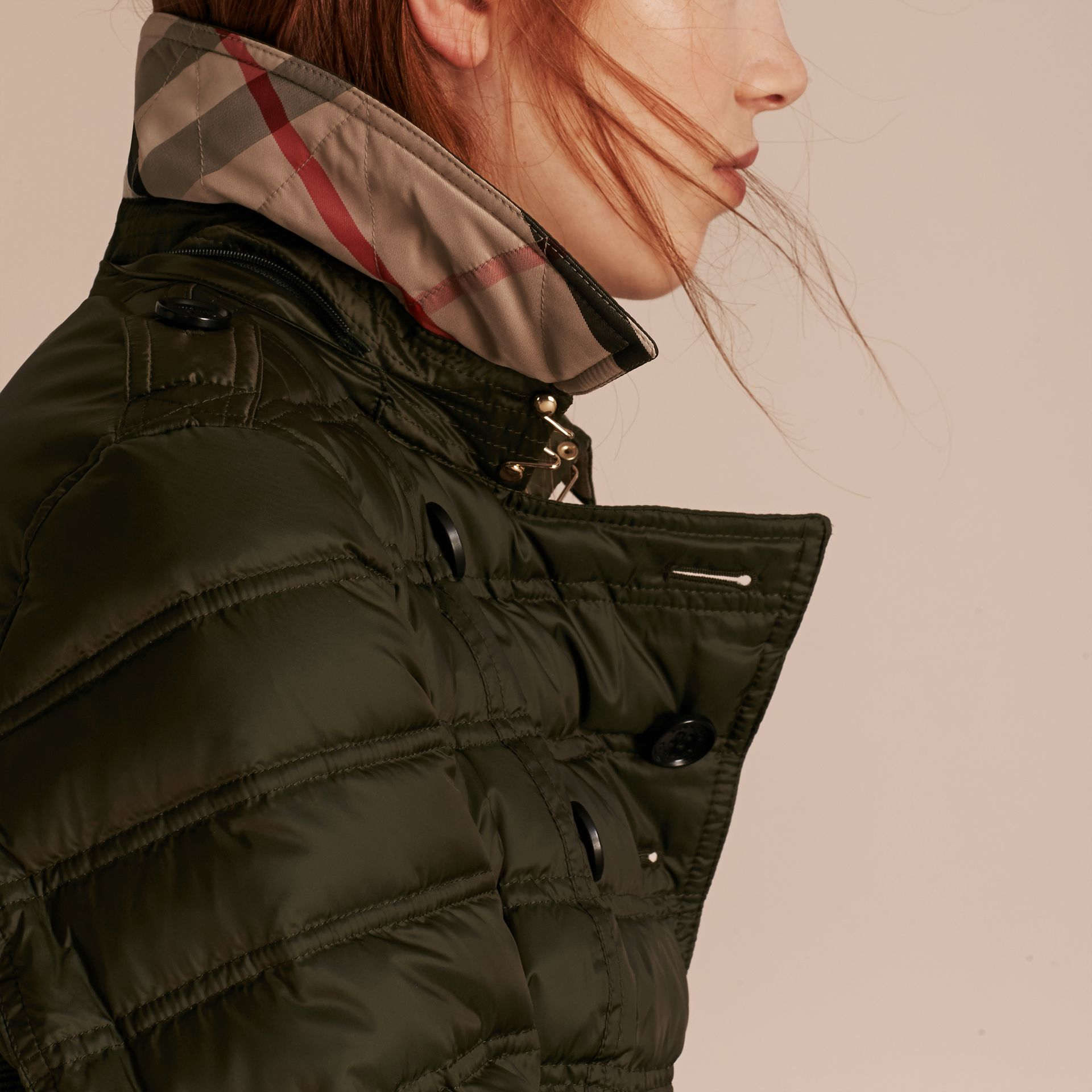 Down-filled Puffer Coat with Detachable Hood in Dark Olive - gallery image 5
