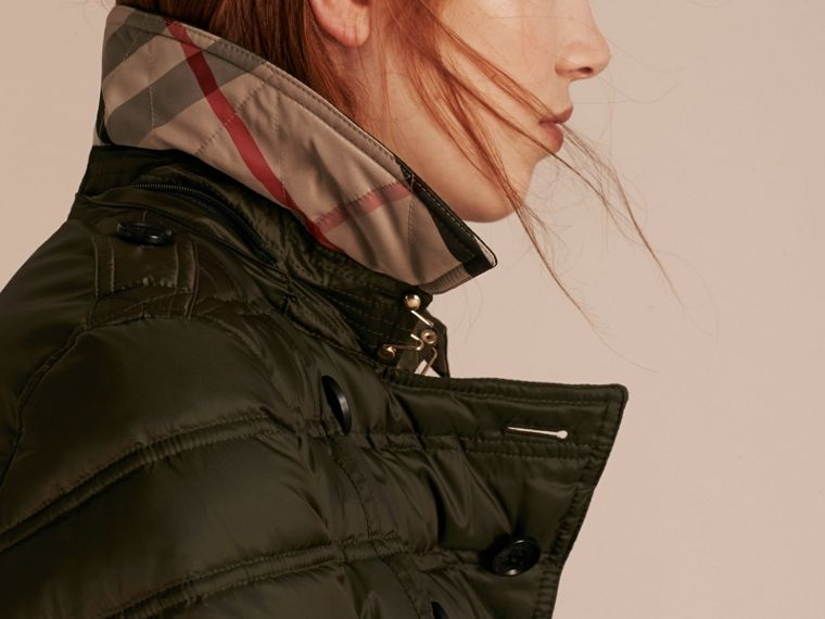 Down-filled Puffer Coat with Detachable Hood in Dark Olive - cell image 4