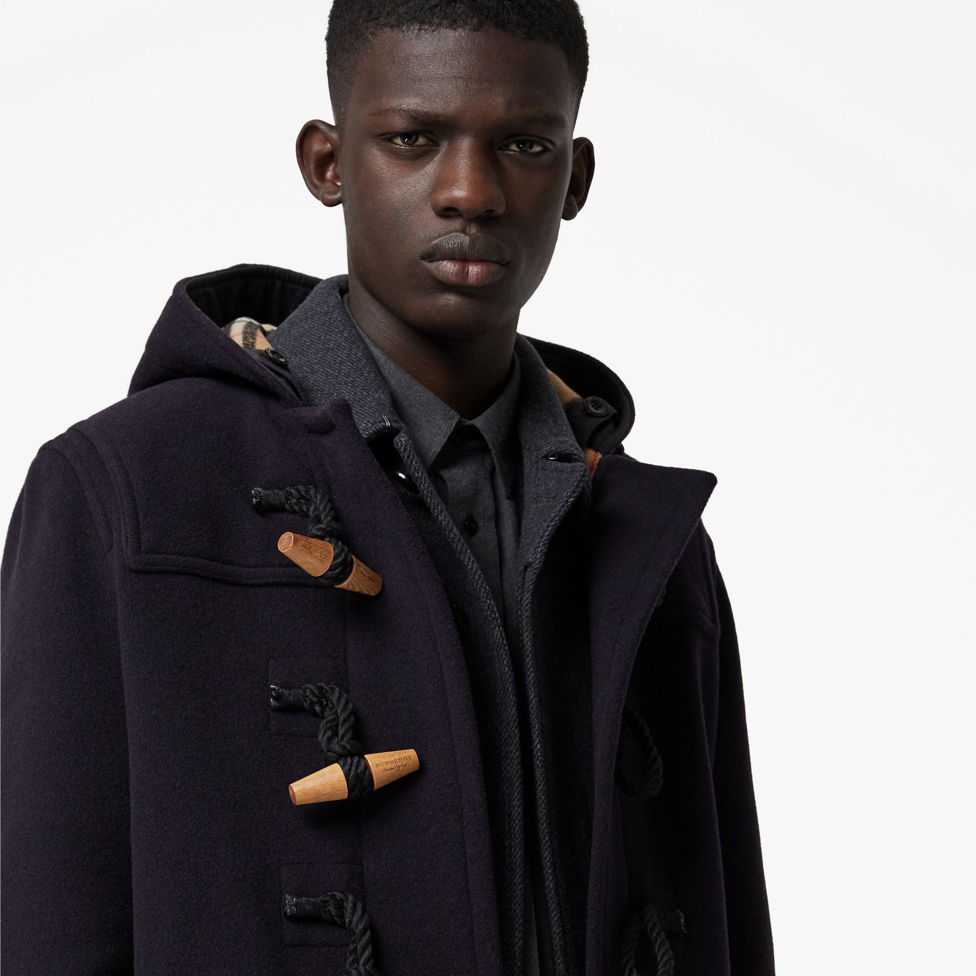 Vintage Check Detail Wool Blend Hooded Duffle Coat in Navy - Men | Burberry United Kingdom - gallery image 1