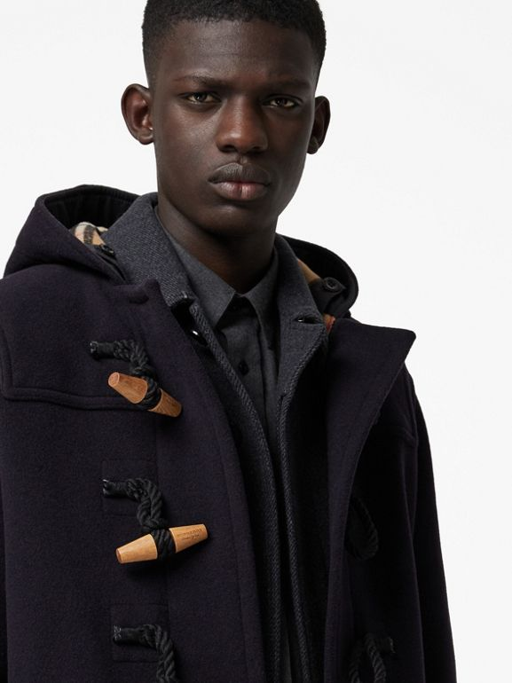 Vintage Check Detail Wool Blend Hooded Duffle Coat in Navy - Men | Burberry - cell image 1