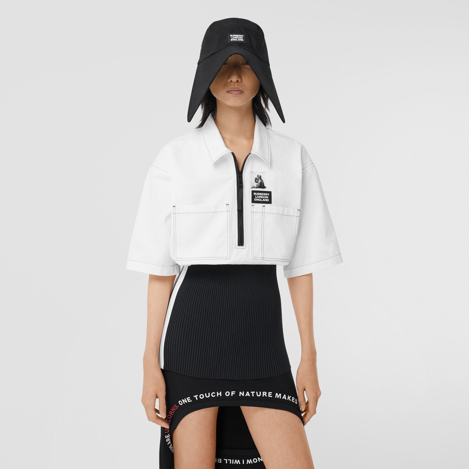 Объемная футболка с трикотажной отделкой (Оптический Белый) - Для женщин | Burberry - изображение 6