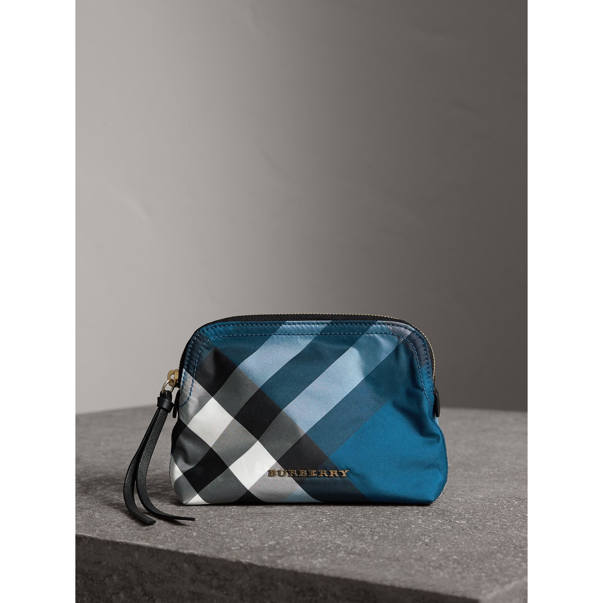 Medium Zip-top Check Technical Pouch in Marine Blue - Women | Burberry - gallery image 1