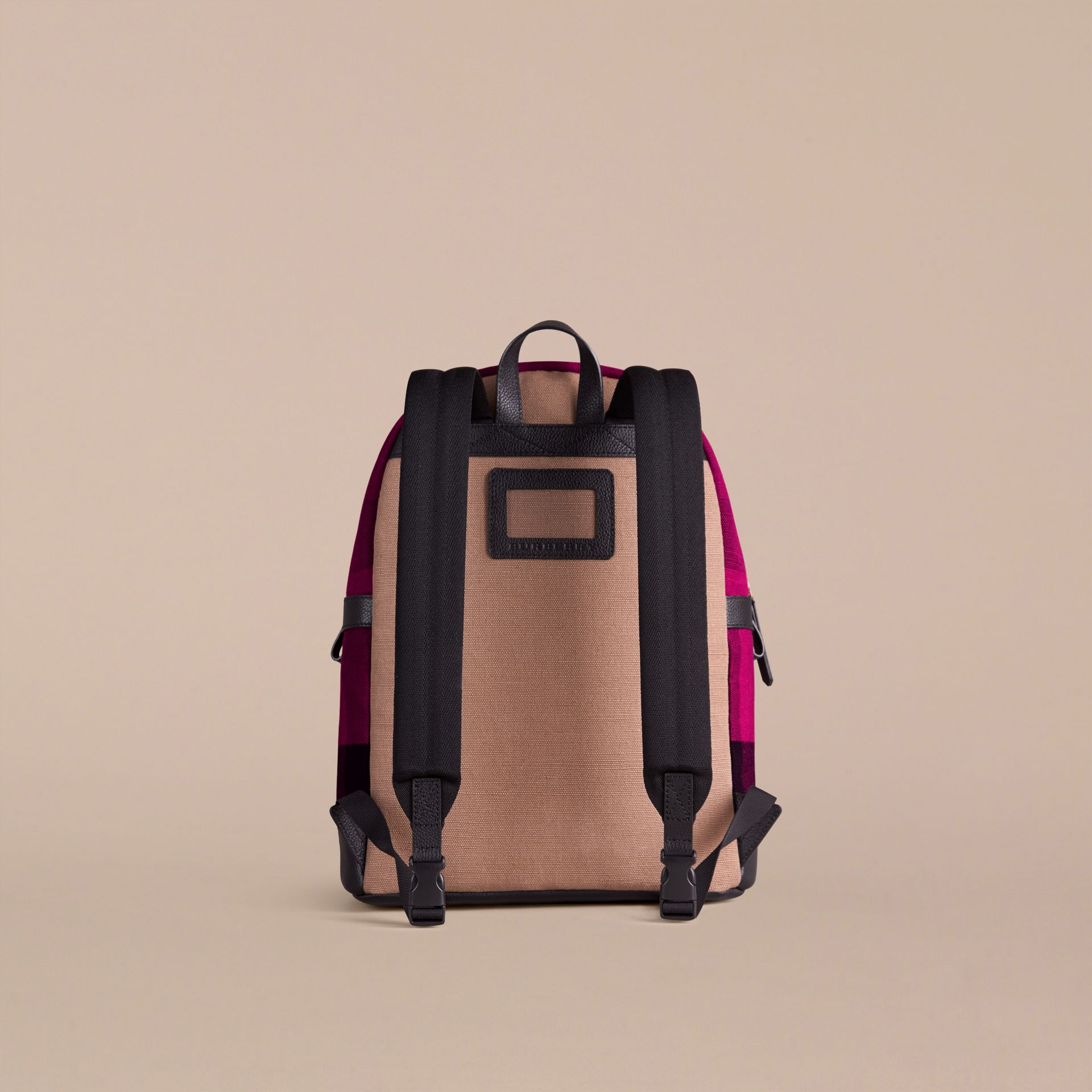 Plum Canvas Check and Leather Backpack - gallery image 3