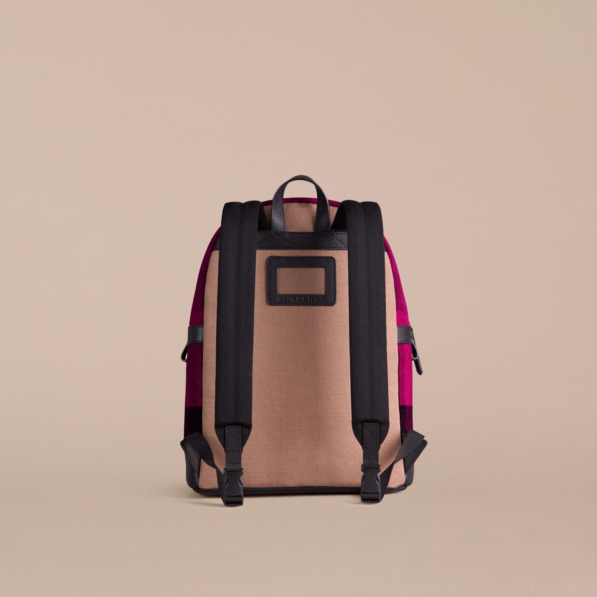Сливовый Рюкзак в клетку Canvas Check с отделкой из кожи - изображение 3