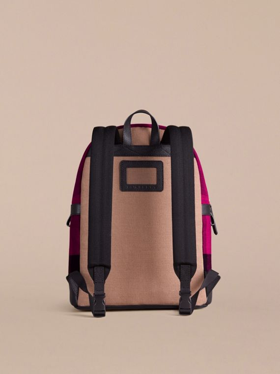 Plum Canvas Check and Leather Backpack - cell image 2