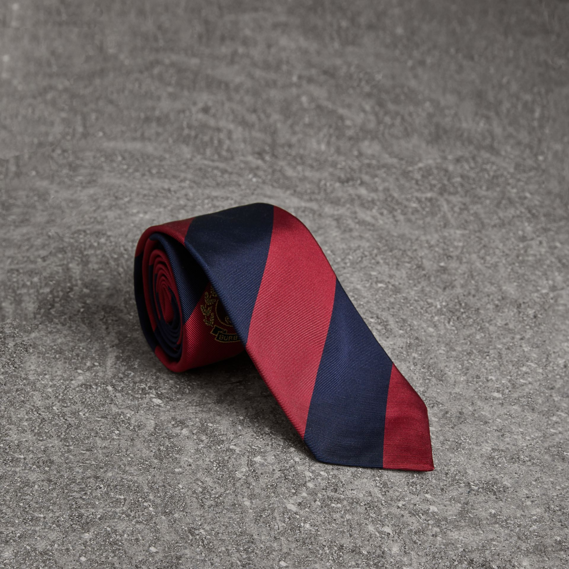 Modern Cut Archive Logo Striped Silk Tie in Navy - Men | Burberry Australia - gallery image 0