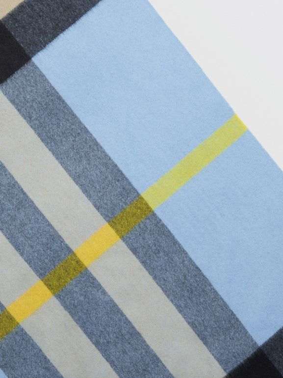 The Burberry Bandana in Check Cashmere in Pale Carbon Blue | Burberry Australia - cell image 1