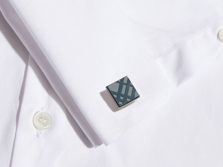 Check-engraved Square Cufflinks Mineral Blue - cell image 1