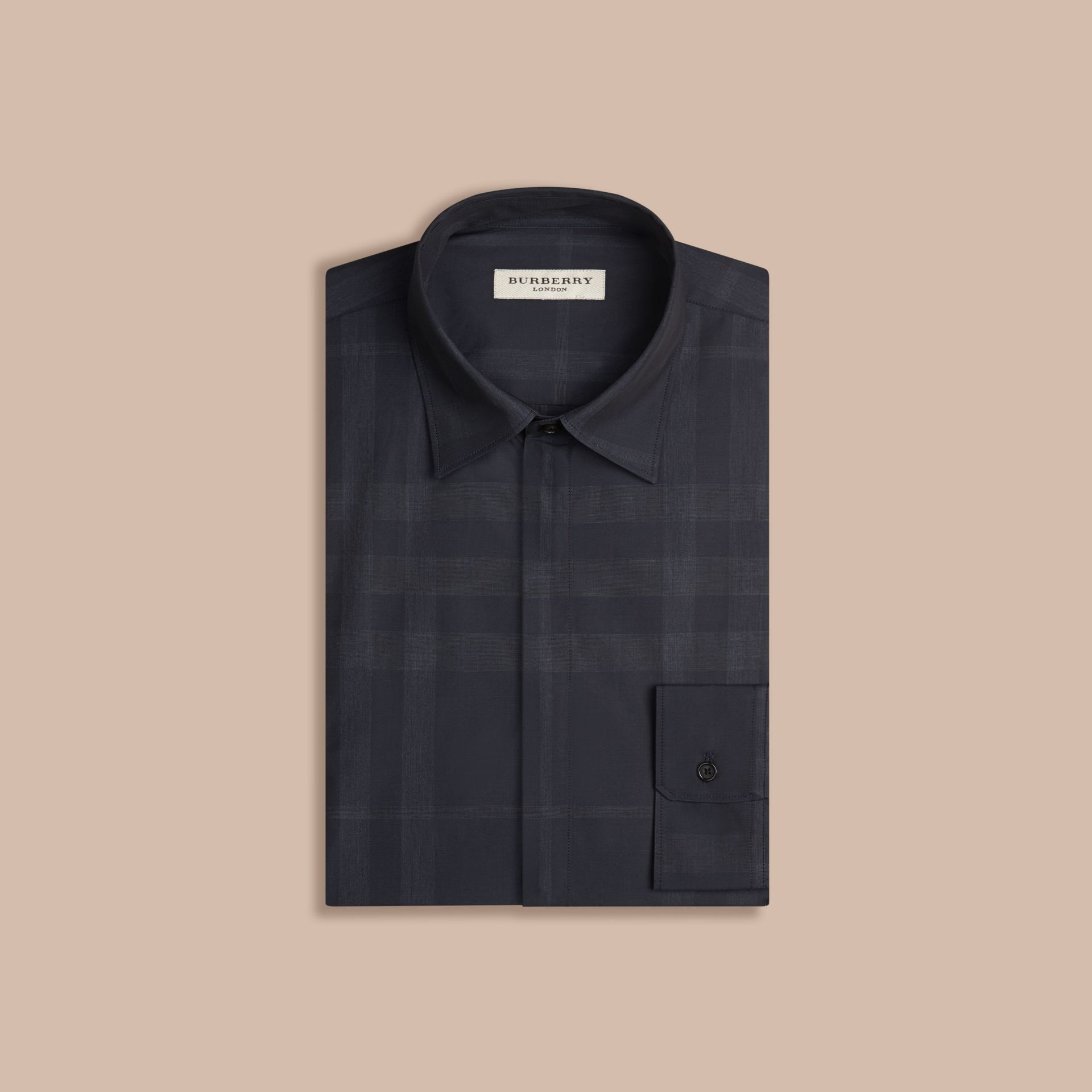 Navy Check Cotton Shirt Navy - gallery image 4