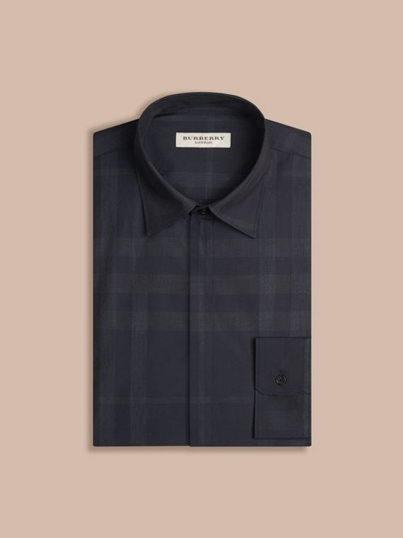 Navy Check Cotton Shirt Navy - cell image 3