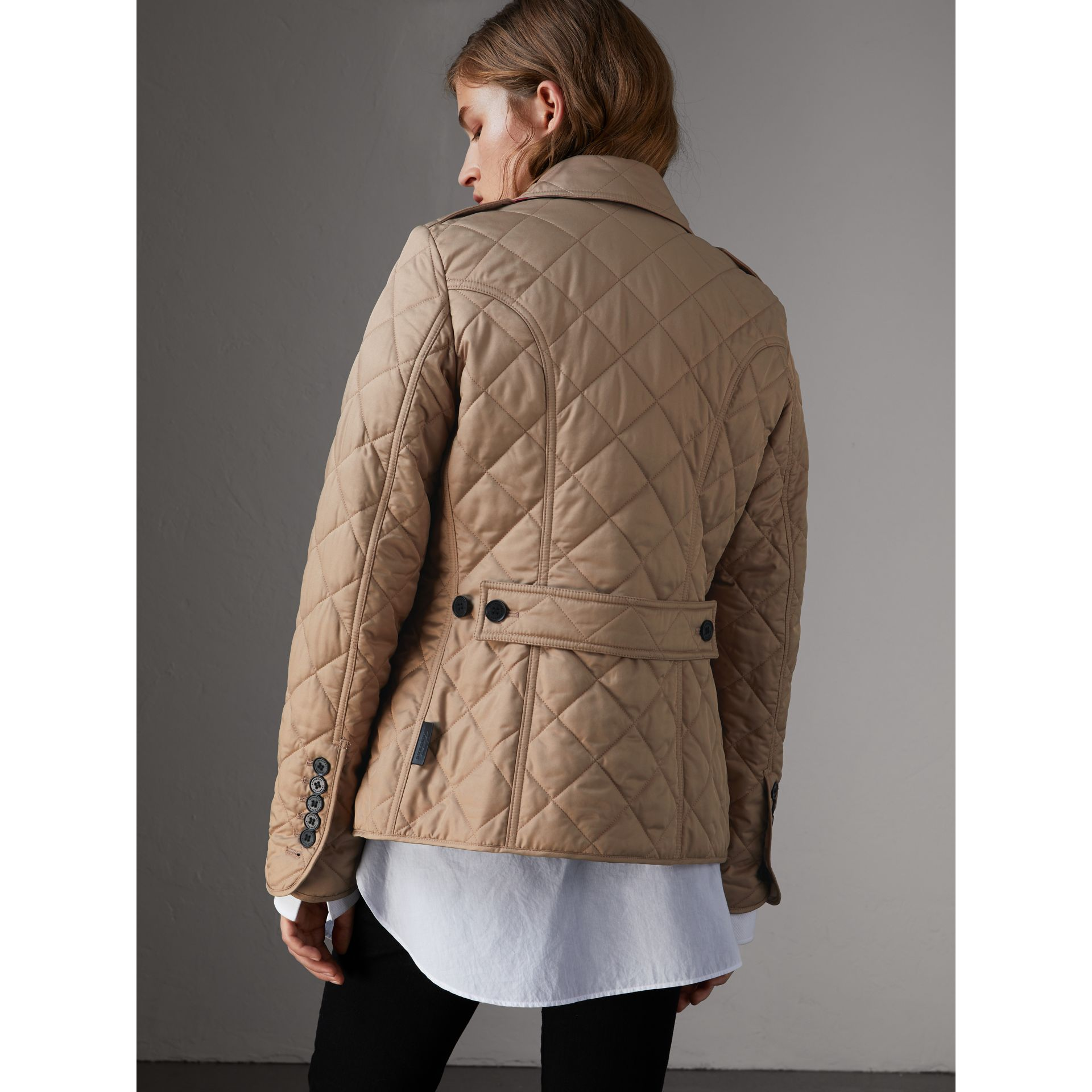 Diamond Quilted Jacket in Canvas - Women | Burberry United Kingdom - gallery image 2