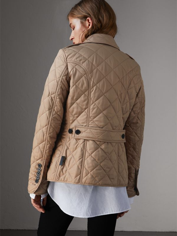 Diamond Quilted Jacket in Canvas - Women | Burberry Australia - cell image 2