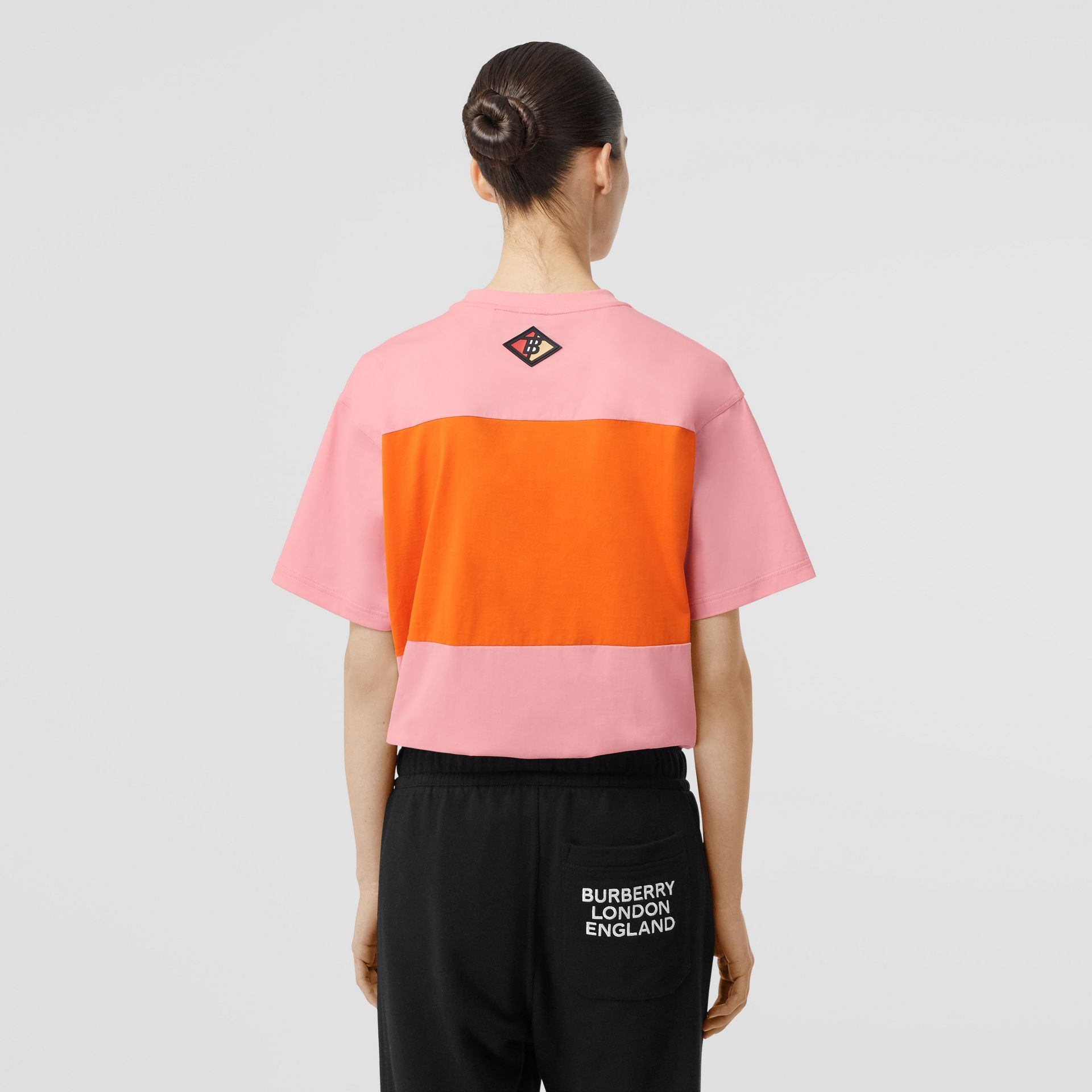 Logo Graphic Panelled Cotton Oversized T-shirt in Candy Pink - Women | Burberry Australia - gallery image 2