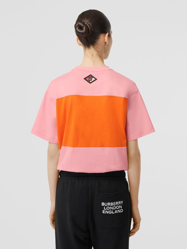 Logo Graphic Panelled Cotton Oversized T-shirt in Candy Pink - Women | Burberry Australia - cell image 2
