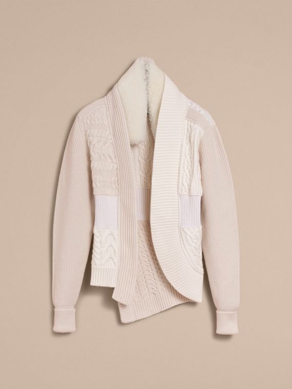 Shearling Collar Knitted Wool Cashmere Jacket in Natural White - Women | Burberry - cell image 3