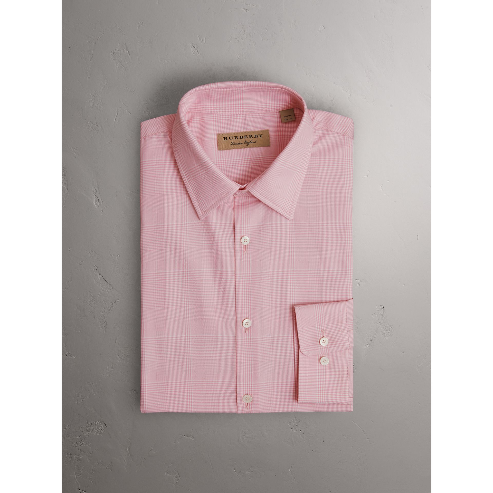 Modern Fit Check Cotton Shirt in Light Pink - Men | Burberry - gallery image 3