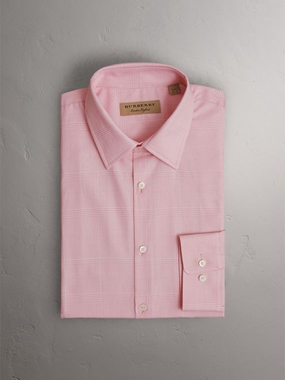 Modern Fit Check Cotton Shirt in Light Pink - Men | Burberry - cell image 3