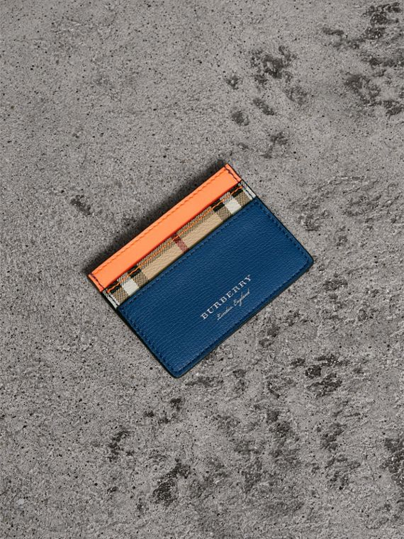 Haymarket Check and Two-tone Leather Card Case in Bright Orange
