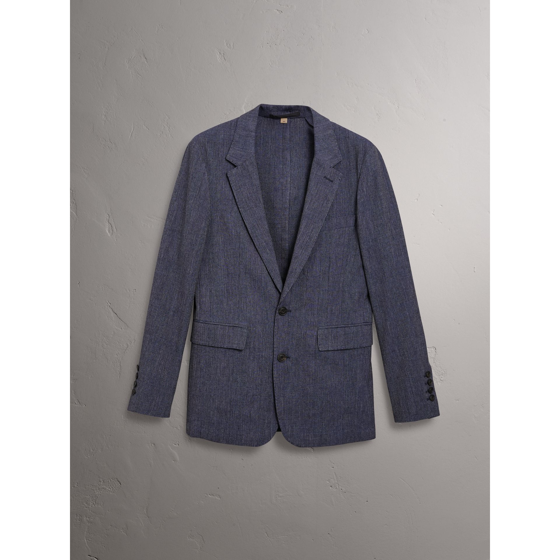 Slim Fit Cotton Wool Blend Tailored Jacket in Bright Blue Melange - Men | Burberry Canada - gallery image 3