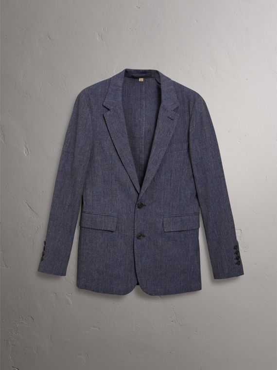 Slim Fit Cotton Wool Blend Tailored Jacket in Bright Blue Melange - Men | Burberry Canada - cell image 3