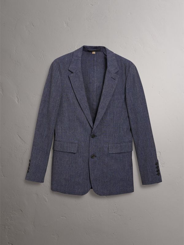 Slim Fit Cotton Wool Blend Tailored Jacket in Bright Blue Melange - Men | Burberry - cell image 3