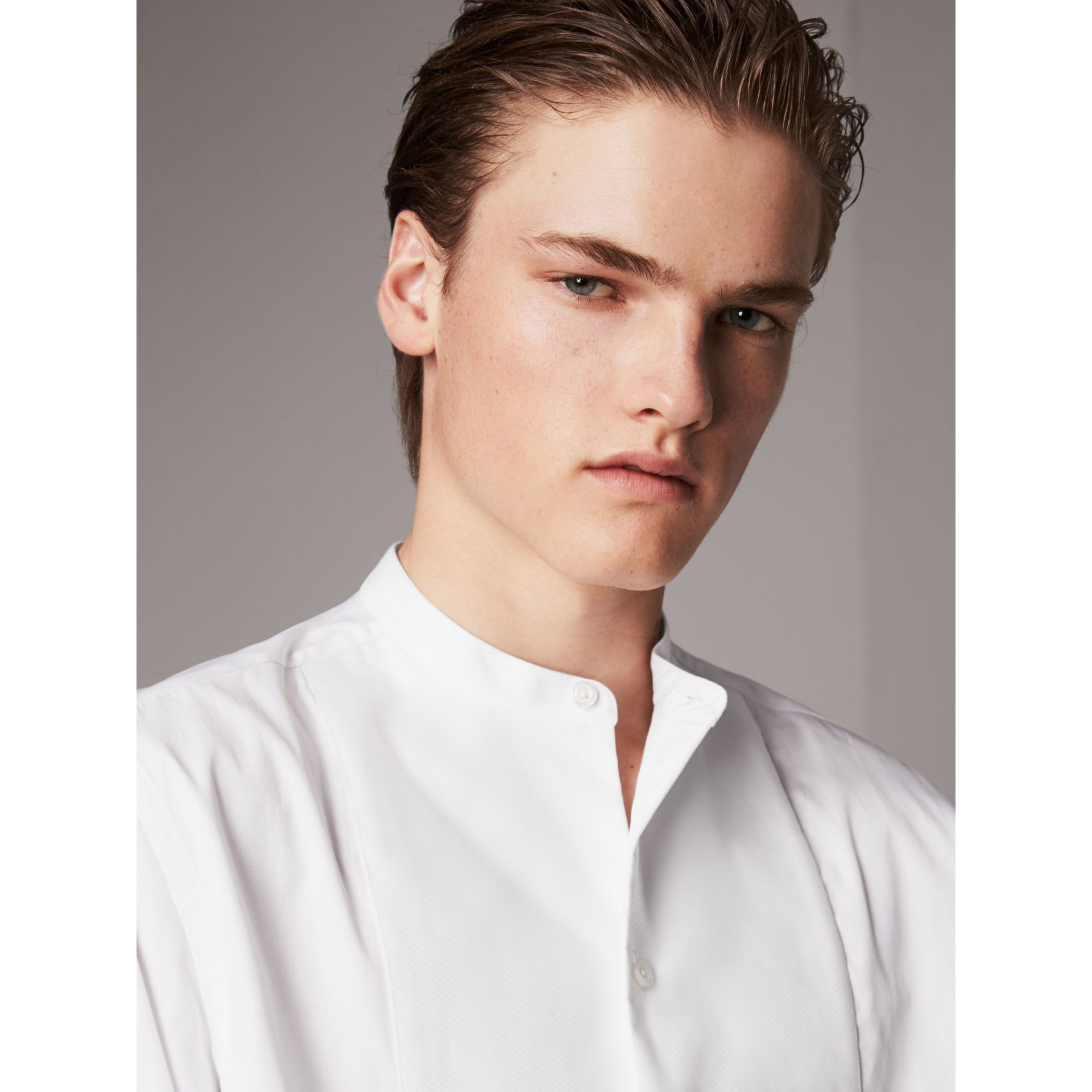 Grandad Collar Plastic Bib Cotton Shirt in White - Men | Burberry Singapore - gallery image 1
