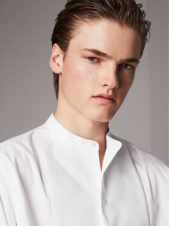 Grandad Collar Plastic Bib Cotton Shirt in White - Men | Burberry - cell image 1