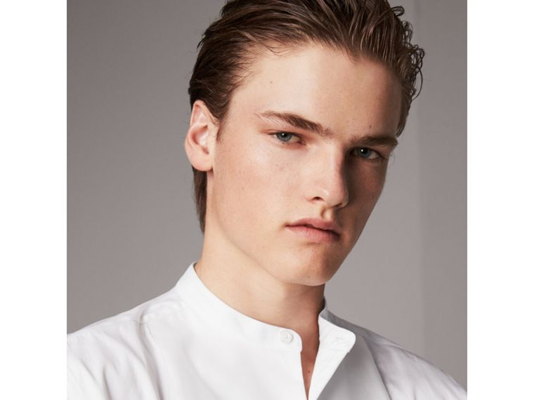 Grandad Collar Plastic Bib Cotton Shirt in White - Men | Burberry Singapore - cell image 1