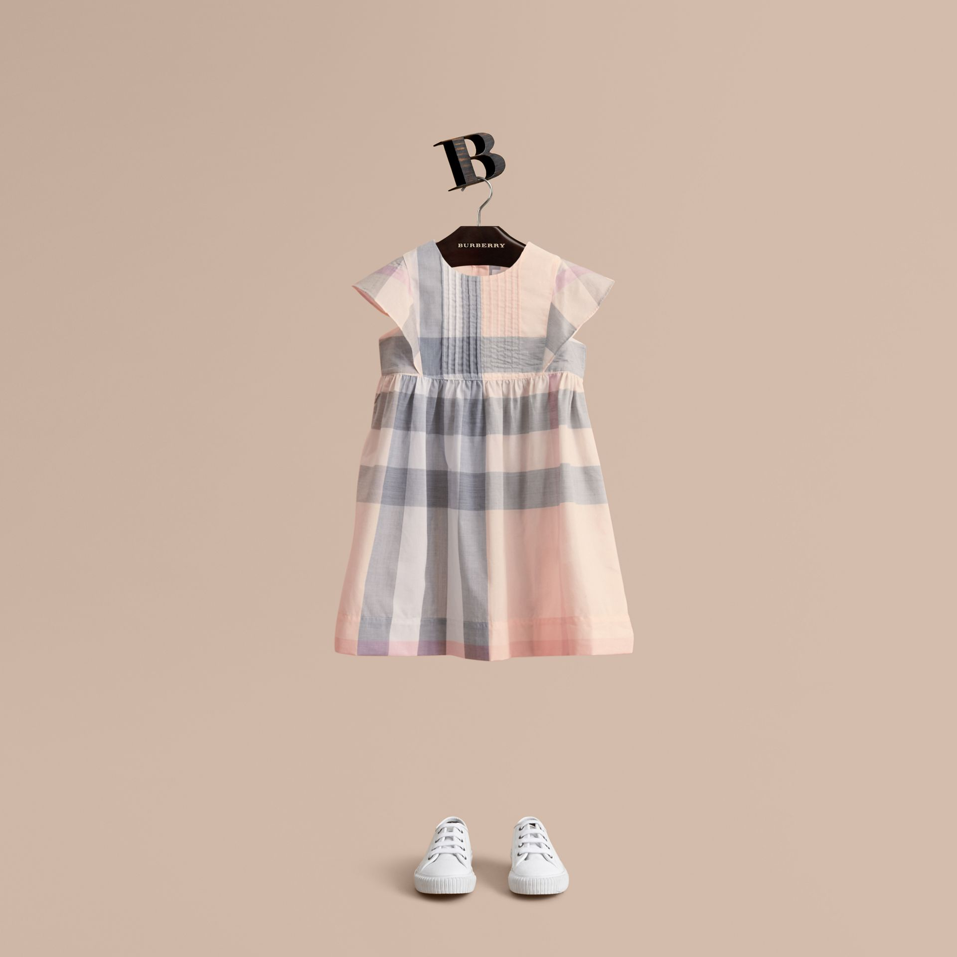 Ruffle Detail Check Cotton Dress in Apricot | Burberry United Kingdom - gallery image 1