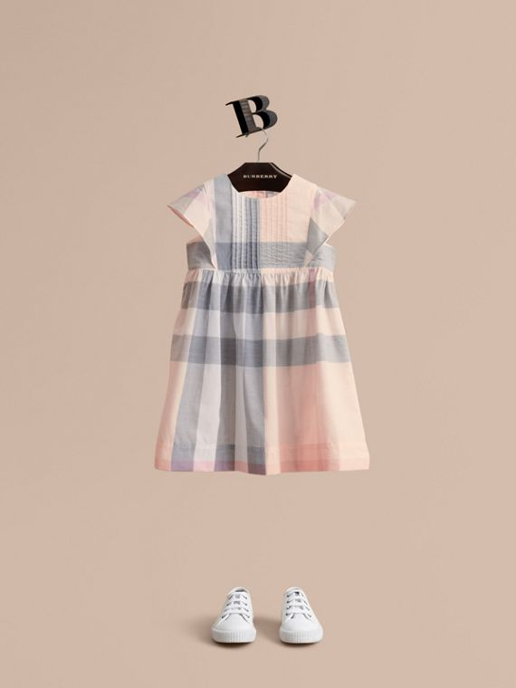 Ruffle Detail Check Cotton Dress in Apricot - Girl | Burberry