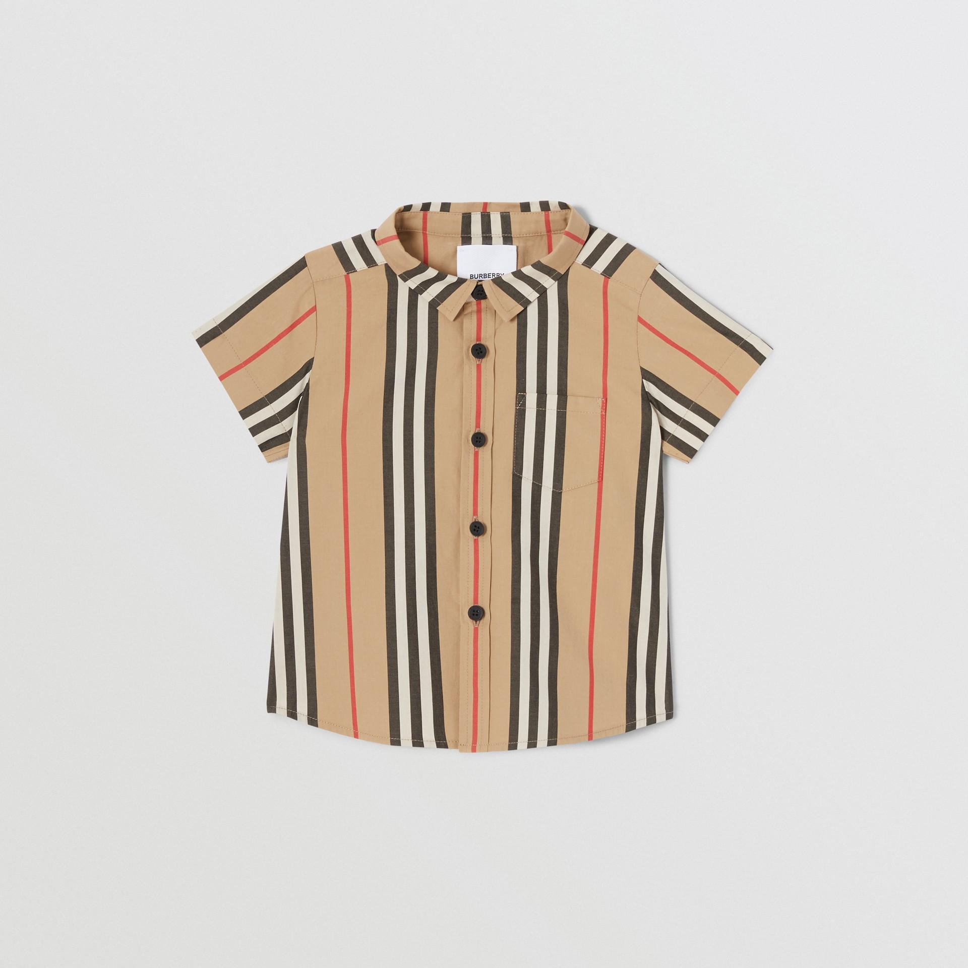 短袖標誌性條紋棉府綢襯衫 (典藏米色) - 童款 | Burberry - 圖庫照片 0