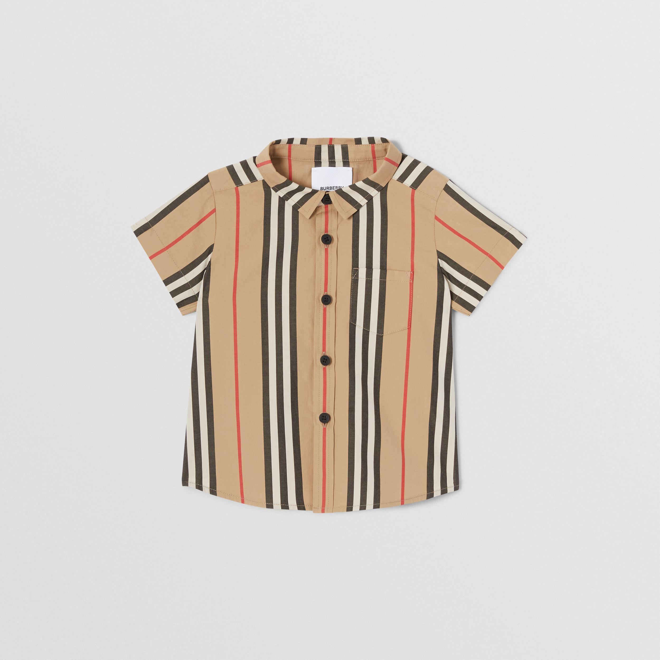 Short-sleeve Icon Stripe Cotton Poplin Shirt in Archive Beige - Children | Burberry - 1