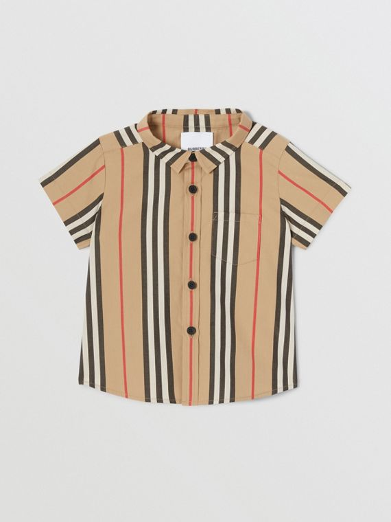 Short-sleeve Icon Stripe Cotton Poplin Shirt in Archive Beige