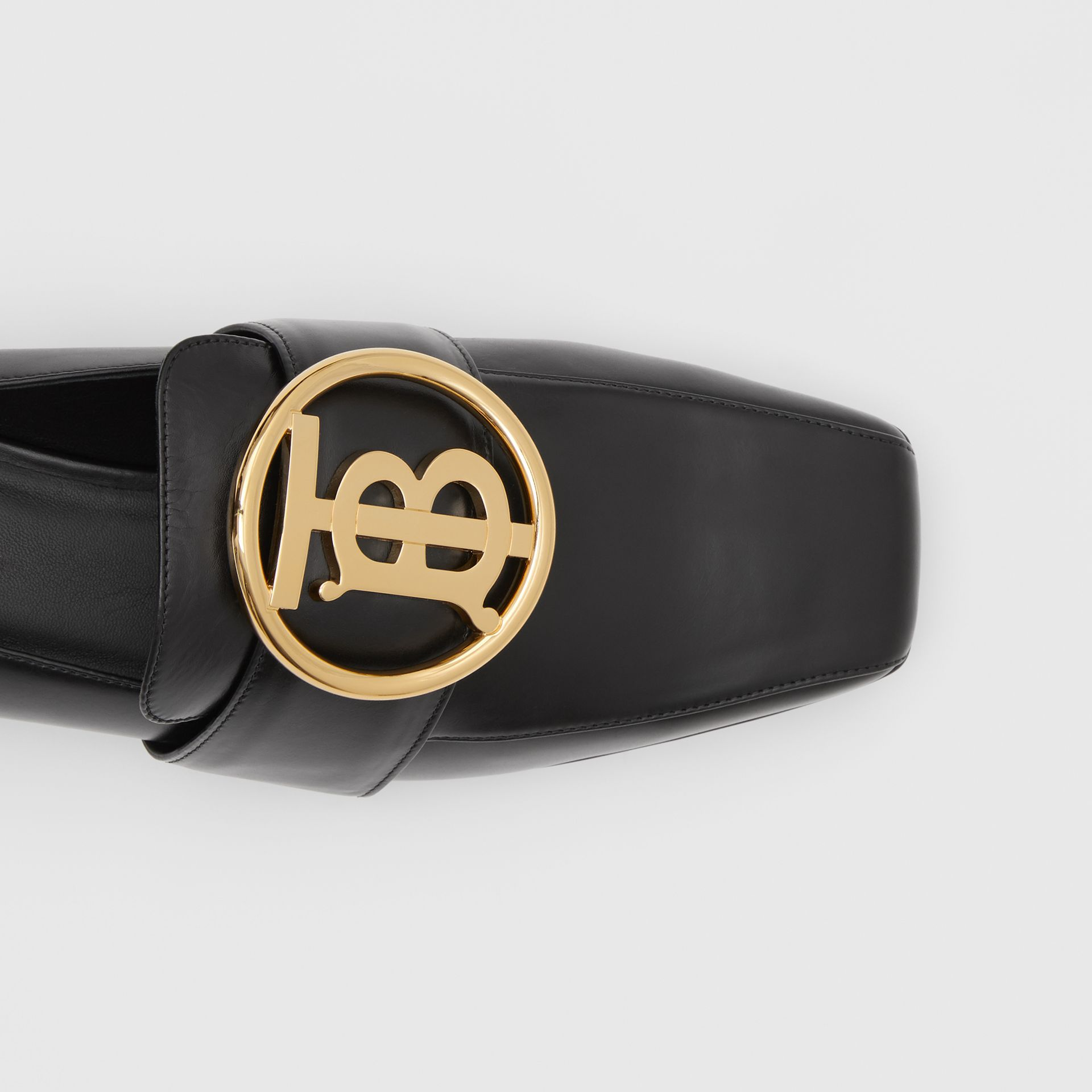 Monogram Motif Leather Loafers in Black - Women | Burberry United Kingdom - gallery image 1