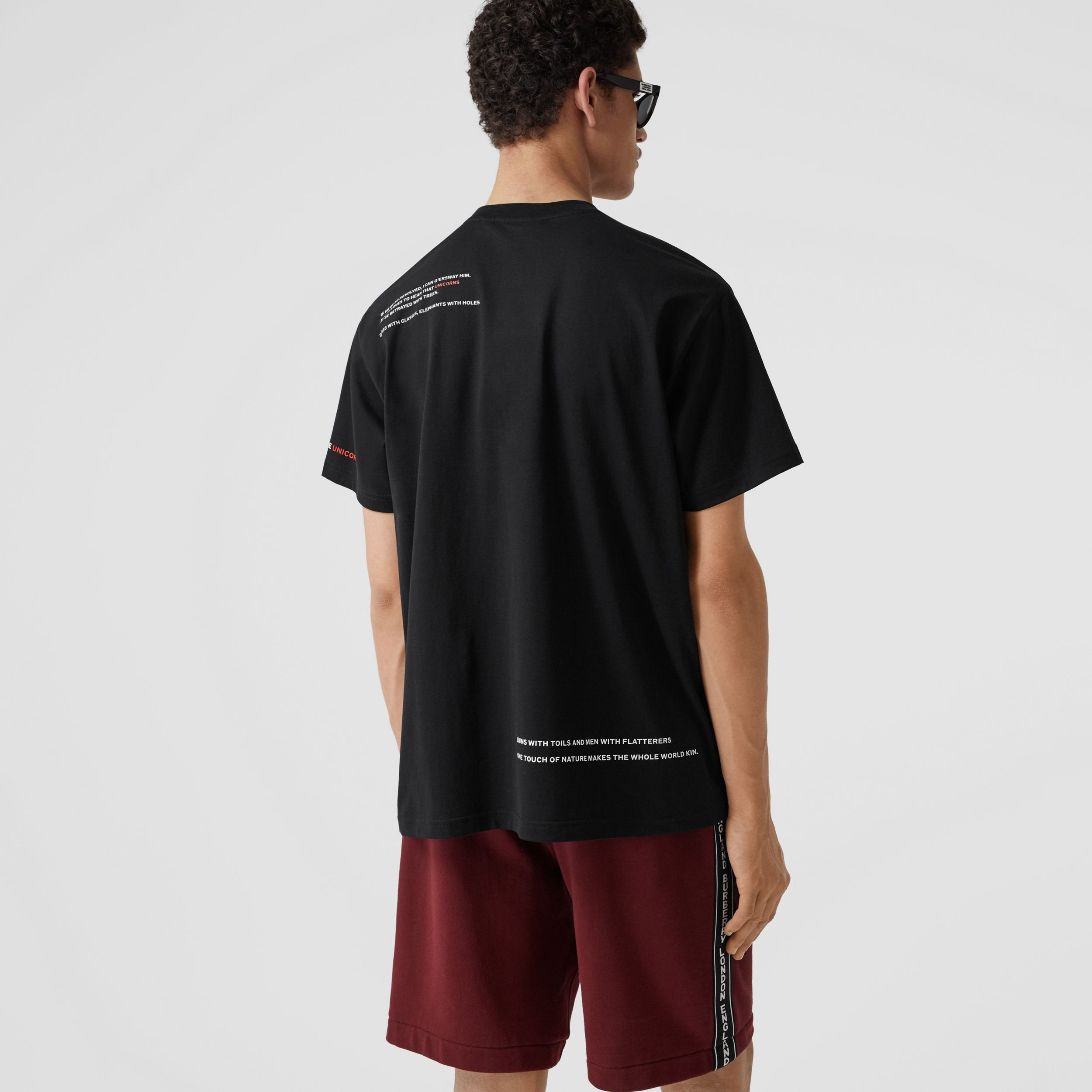 Montage Print Cotton T-shirt in Black - Men | Burberry - 3